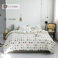 Liv-Esthete Wholesale Nordic INS 100% Cotton Soft Bedding Set Decor Duvet Cover Pillowcase Flat Sheet Double Queen King Bed