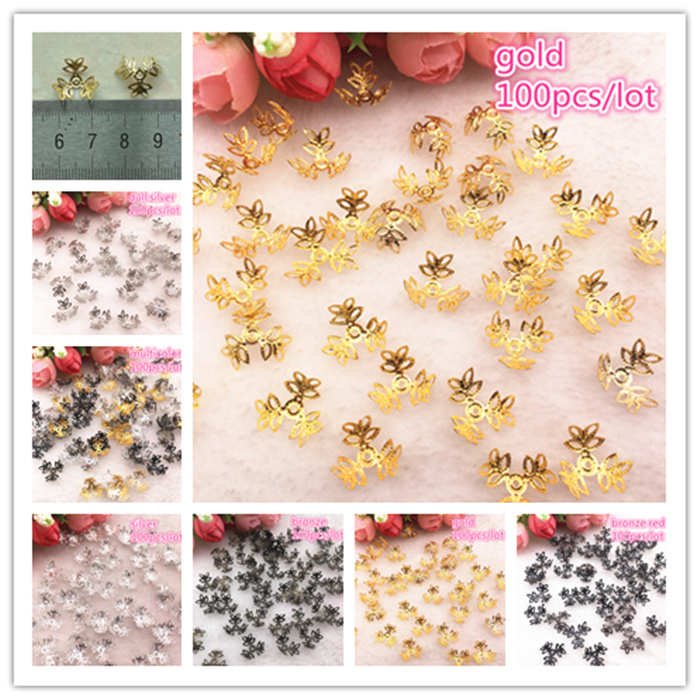 100pcs/lot  Silver Gold Plated Trefoil Hollow Flower Petal End Spacer Beads Caps Charms Bead For Jewelry Making Accessories