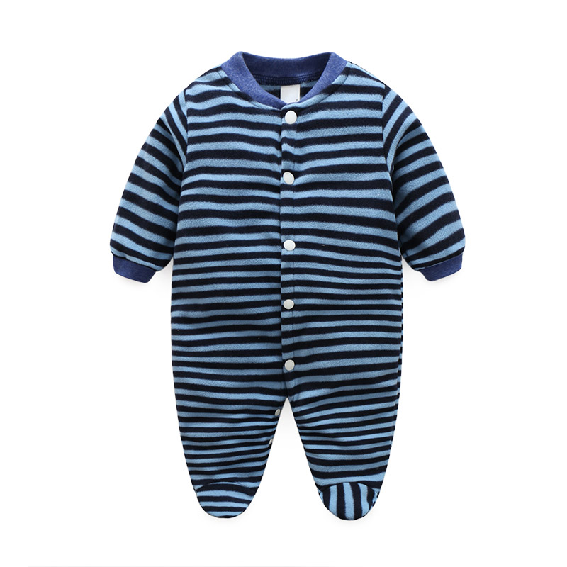 Newborn Baby Romper Striped Footed Fleece Romper Baby Boy Girl Spring Autumn Baby Romper Jumpsuit With Foot Baby Winter Clothing 0cm in diameter large space baby hand footed printing mud set newborn baby hand and foot print hundred days old gift souvenir