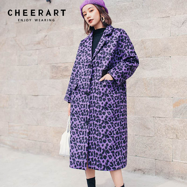 bc4444afff6 Cheerart Purple Wool Coat Women X-Long Plus Size Winter Overcoat Tweed  Leopard Lapel Coat Oversize Long Coats Ladies Clothing