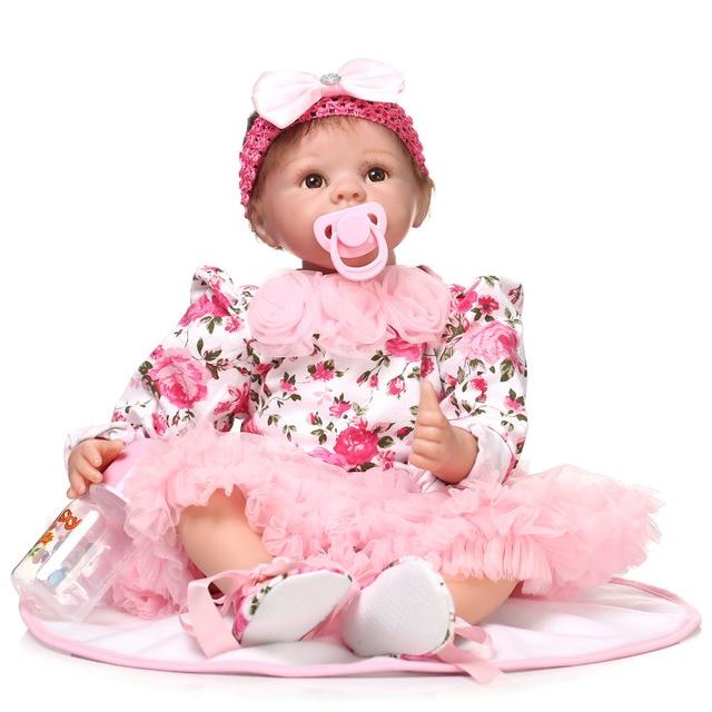 55 см Моделирование Реалистичные Силиконовые Винил Возрождается Кукла Игрушки Рождество Подарок На День Рождения Девочки Brinquedos Играть Дома Милые Newbabies