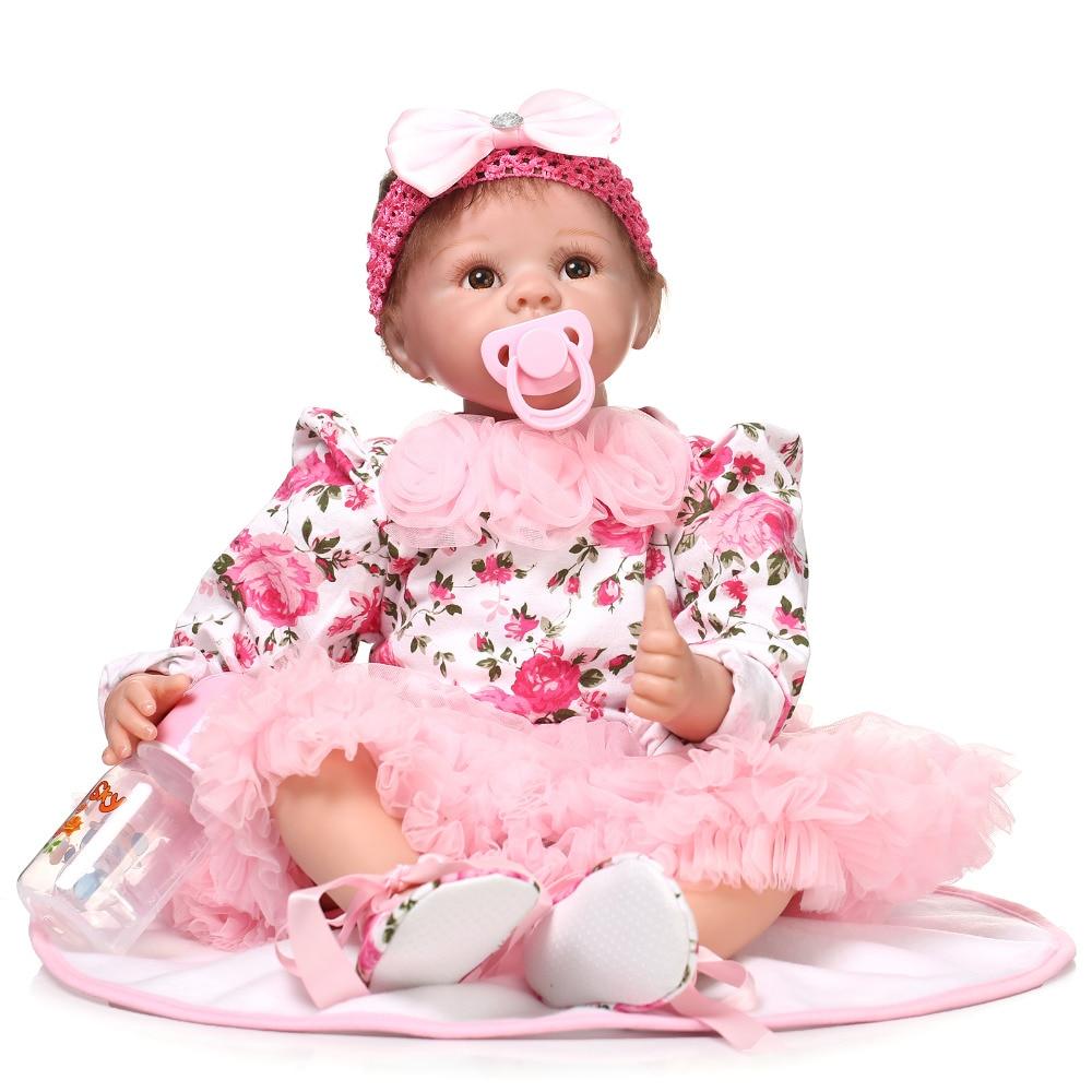 55cm Simulation Lifelike Silicone Vinyl Reborn Baby Doll Toys Christmas Birthday Gift Girl Brinquedos Play House Cute Newbabies