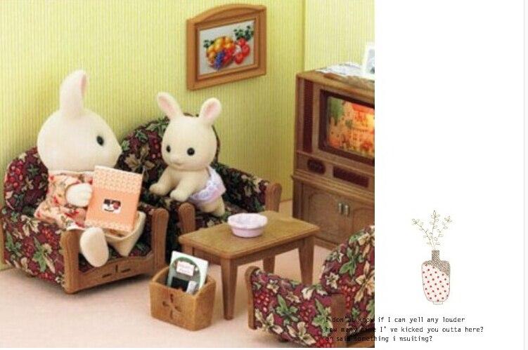 1:12 Genuine Retro Sylvanian Families House Printing Sofa Tea Table Set  Dollhouse Miniature Furniture