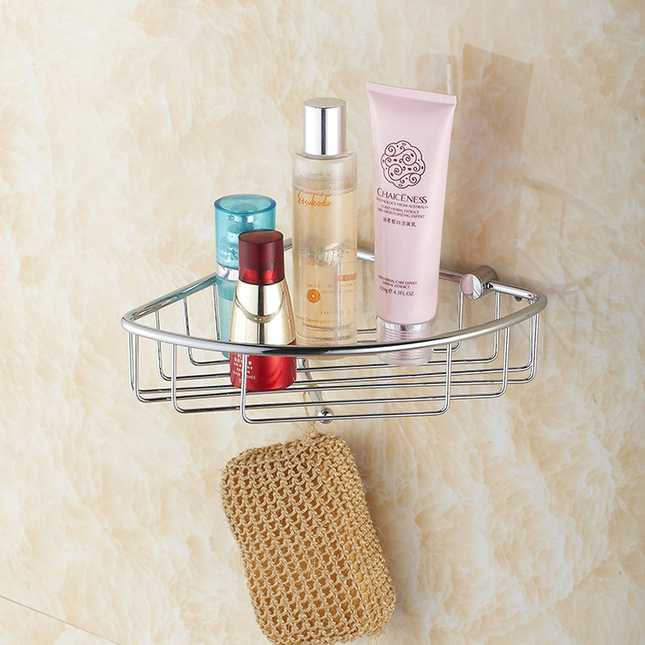 Aliexpress.com : Buy Corner Shower Caddy Rustproof Brass Wall Mount Shower  Basket For Bathroom , Single Tier Shelf With Hook Polished Chrome From  Reliable ...