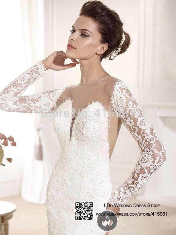 2019 Lace Long Sleeves Bridal Dresses Mermaid Backless Wedding Gowns vestido de noiva robe de mariee Marriage wedding dress in Wedding Dresses from Weddings Events