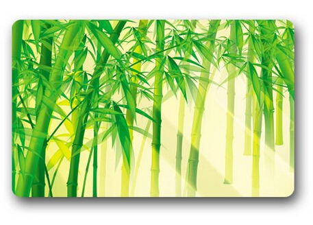 hot custom bamboo plants with sunlight door mat art design pattern printed carpet floor hall bedroom