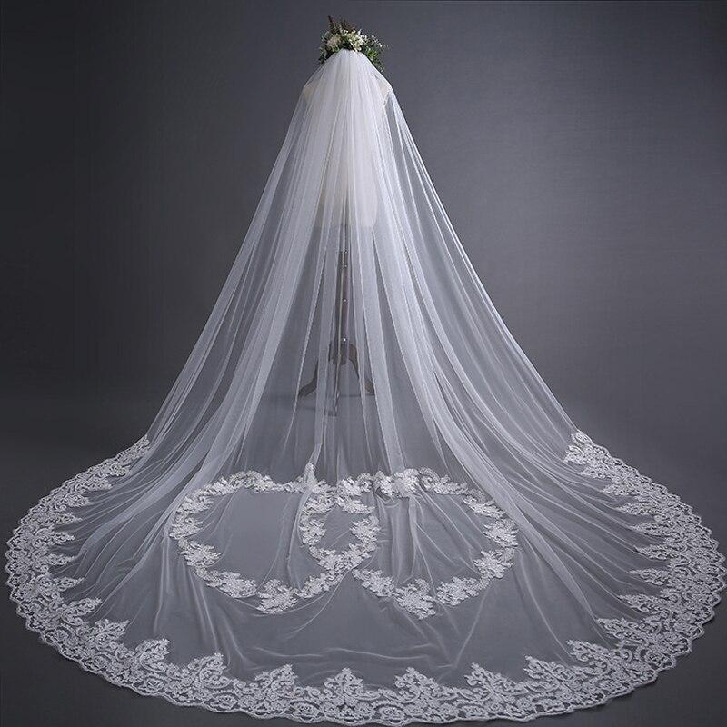 New Bridal Veil Ivory 3m Appliqued Long Wedding Veil Veu De Noiva With Lace Edge Flowers Heart Design