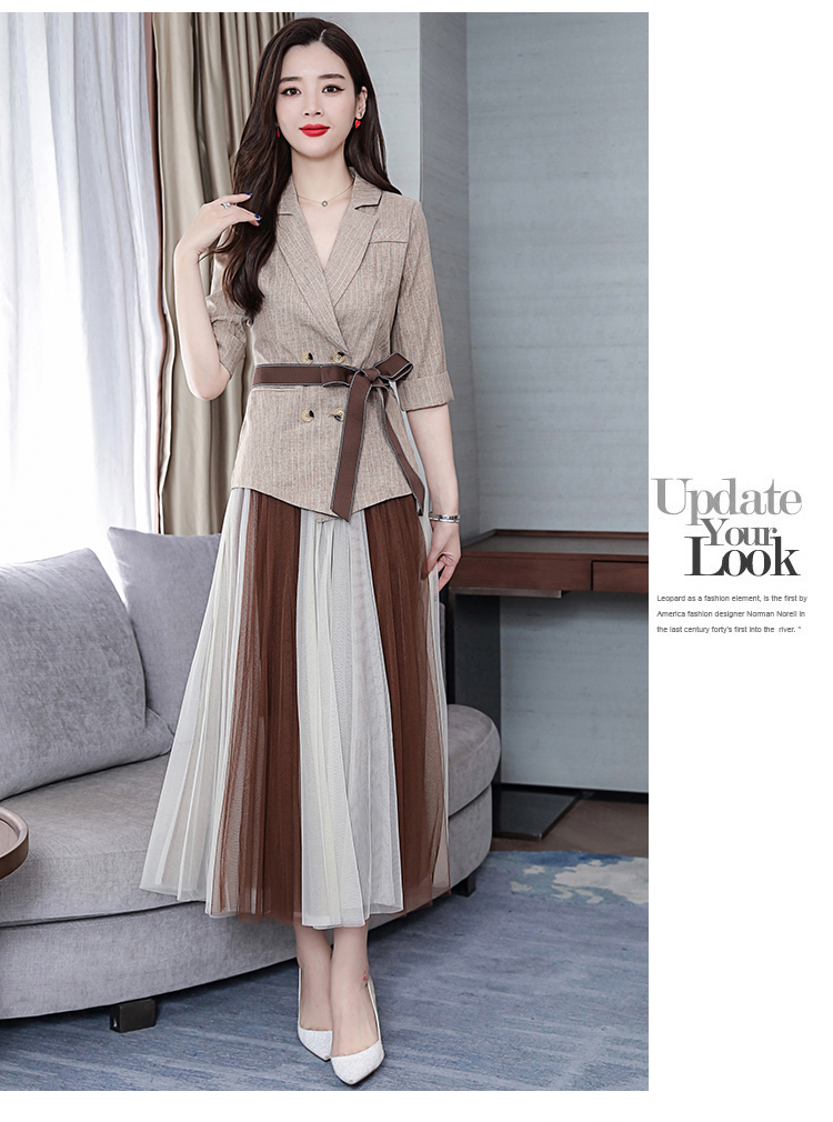 2019 Two Piece Sets Outfits Women Office Suit With Belt And Pleated Skirt Suits Vintage Korean Ladies 2 Piece Sets Femme 40