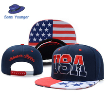 2016 New American Flag Snapback Hats Brand USA Letter Cotton Gorras Hip hop Snapback Caps Men Women Baseball Cap Bones For Adult