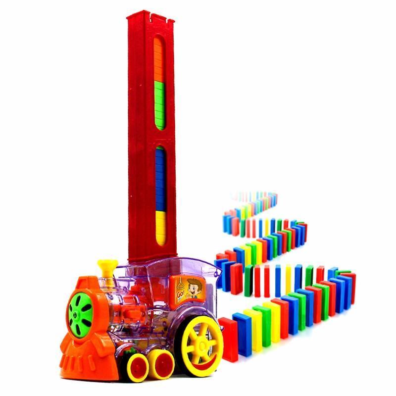 Venta caliente 60 piezas Domino bloques tren Kit motorizado configurar el dominó con carga cartucho juguetes regalo de cumpleaños para niños kid