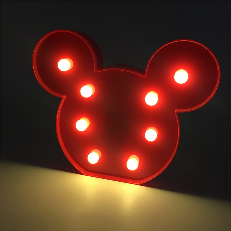 Image 5 - Leedome 3D Romantic Lamp LED Night Light Mickey Style Lamp Marquee Home Christmas AA Battery LED Nightlight For Home Decor-in LED Night Lights from Lights & Lighting