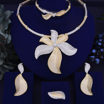 missvikki Famous Super Fashion Design Handmade Paved Full CZ Clear Crystal Big Blooming Flowers Pendant Necklace Earrings 4 PCS