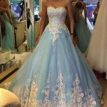 BRITNRY Custom Made Blue Wedding Dress Sweetheart A Line