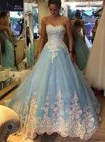 Nach Maß Blau Hochzeitskleid Schatz Eine Linie Elfenbein-spitze Appliques Vestido de Noiva Brautkleider