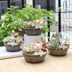 Succulent Pots Planters Flower-Pot Animal Resin Mini Cute Fashion American 3-Types Country-Style