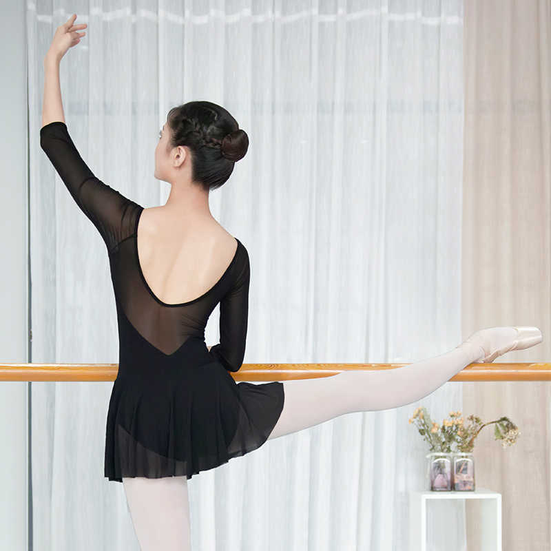 バレエレオタード女性のための体操レオタード黒ダンスレオタードソフトメッシュスカート綿社交バレエ衣装