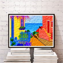 Frameless Abstract Oil Painting By Numbers The Mediterranean Seaside House  Print Poster Wall Sticker Home Decor