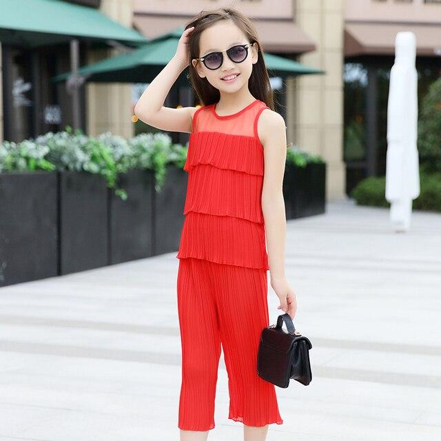 Vetement enfant fille Девушки комплектов одежды Девушки верхняя одежда Baby girl одежда Дети Костюм Летний Шифон жабо футболка + брюки набор