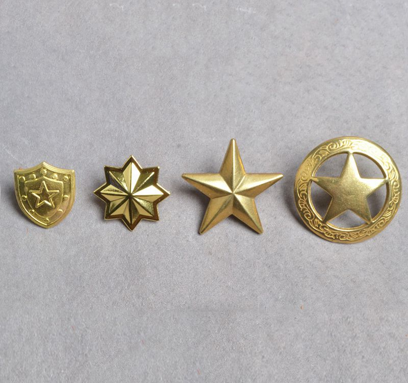 Solid Brass Embossed Star Shield Badge Purse Buckle Buttons For Wallet Belt Bag Jeans Phone Case Dog Collar Diy Accessories