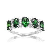 PJC Bella Luce 6 4mm 3 23cts Oval Shape Emerald Cubic Zirconia With 0 35ct White