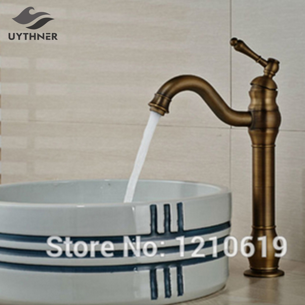 Uythner Newly Tall Bathroom Sink Faucet Retro Style Antique Brass Basin Faucet Mixer Tap Single Handle Single Hole phasat 4308 retro dual handle bathroom sink faucet antique brass