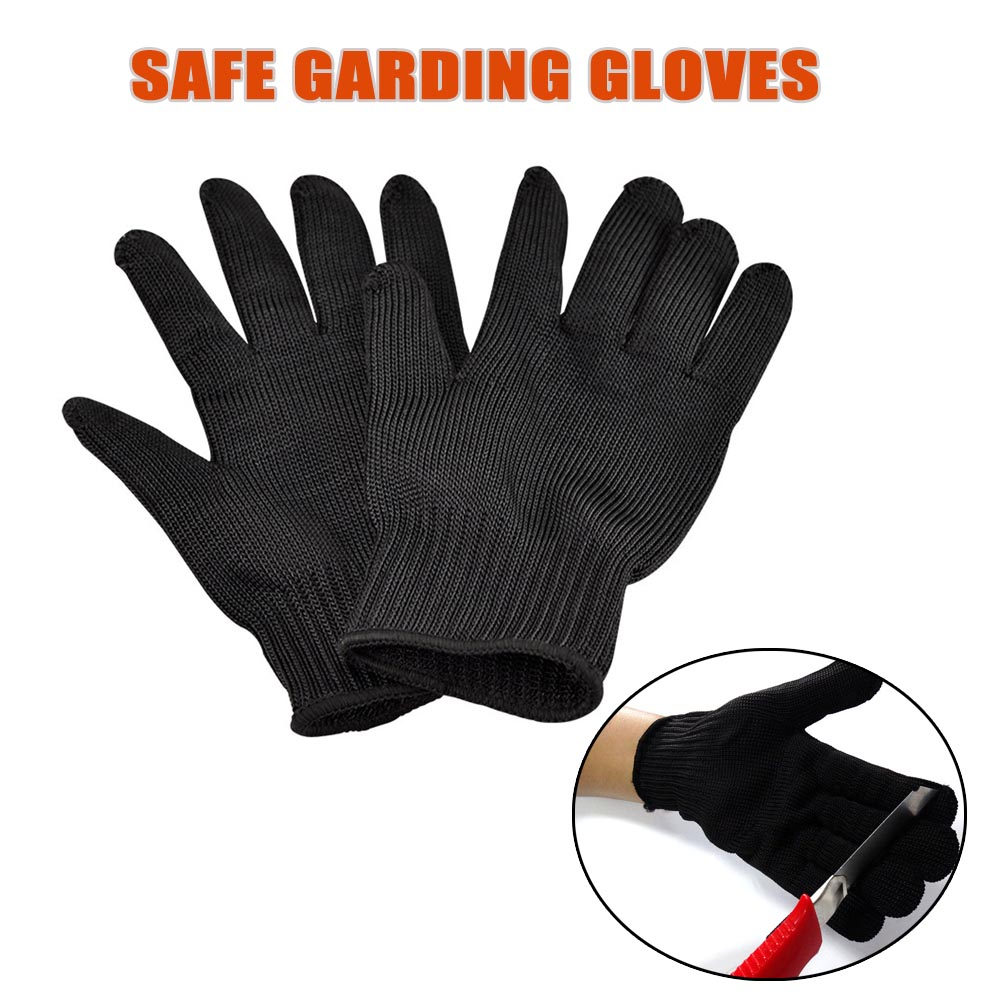Black gardening gloves - 1 Pair Safety Gloves Black Protective Garden Gloves Stainless Steel Wire Cut Resistant Kevlar Ladies Gardening Gloves Hw244