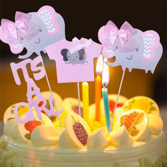 4pcsset Its A Boy Its A Girl Cake Topper Cartoon Elephant