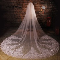 ZYLLGF 2018 Luxury Long Lace Wedding Veil 3.5m Cathedral Bride Veil For Women Veus De Noiva Tulle Applique BV35