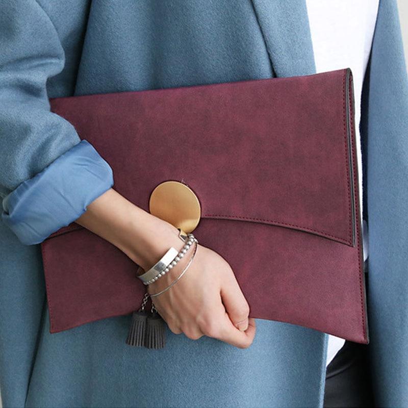 Kpop moda de las mujeres sobre del bolso de embrague de Alta calidad de LA PU Se