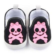 Повседневная Печать Детская Обувь Череп Шаблон Мягкой Подошвой Хлопок Девушка Новорожденный Мальчик Обувь 0-12 Месяцев