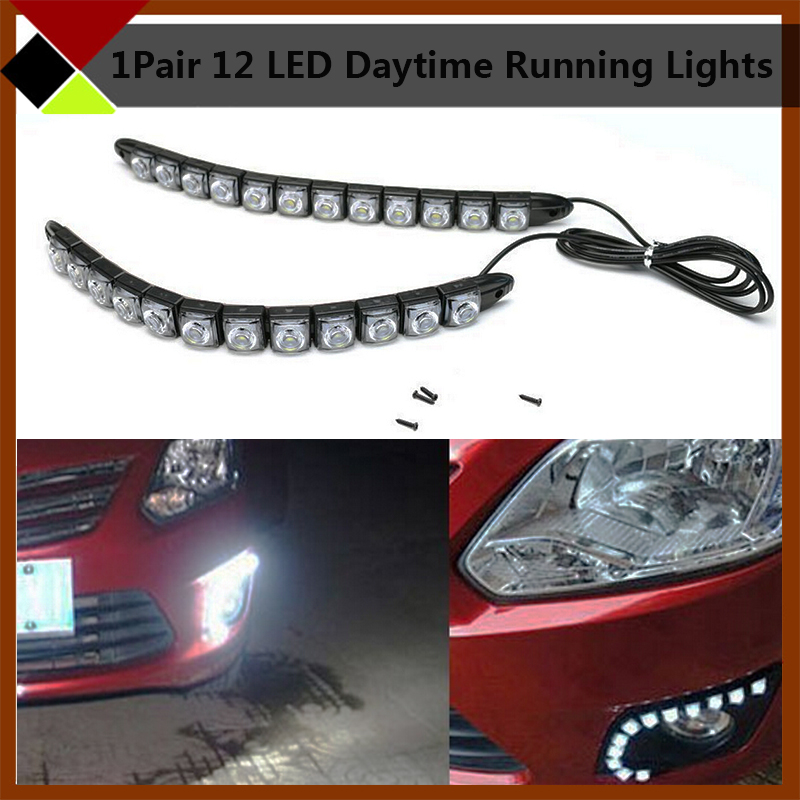 1 Pair 12 SMD White 12W Flexible LED Strip Lights High Power Car Daytime Running Lights DRL Warning Driving Lamps 2pcs high power xenon white 30 smd 4014 h3 led replacement bulbs for car fog lights daytime running lights drl lamps