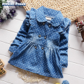 New Spring Fall Kid Girls Lovely Denim Jacket Children Toddler Casual Trench Coat Outwear Overcoat for Little Girl