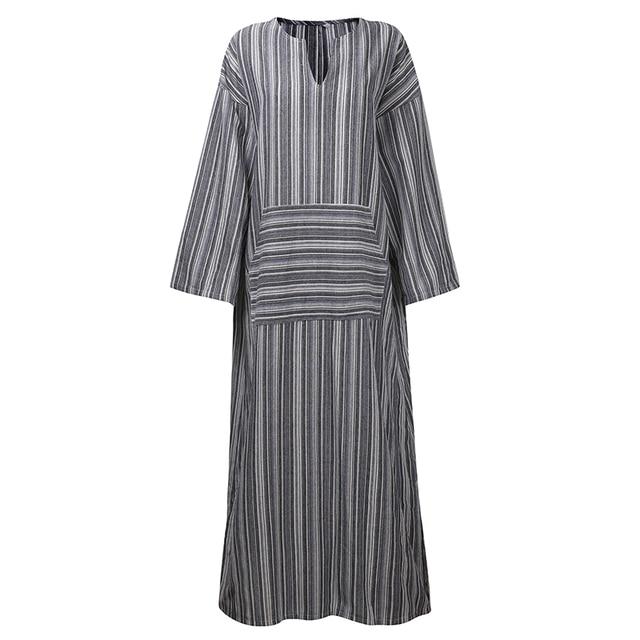 241cd38faff Plus Size 5XL Maxi Dresses Women Retro Casual Loose Long Dress Cotton Linen  Striped Long Sleeve