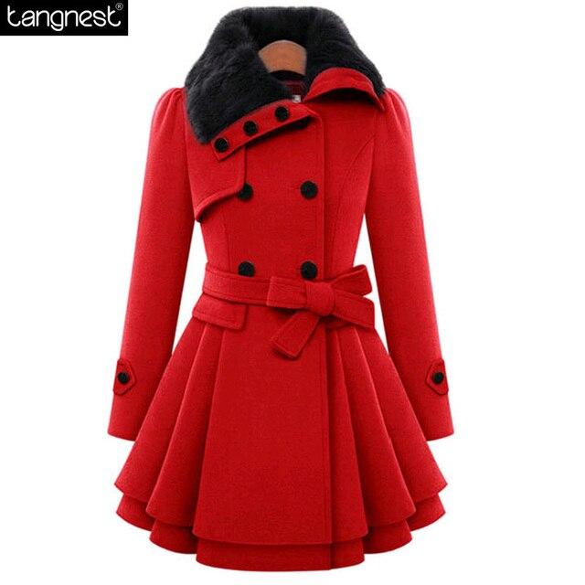 884b46a515b5 TANGNEST Faux Fur Collar Pea Coat 2017 NEW Fahion Flare Hem Women Winter  Jacket Button Closure