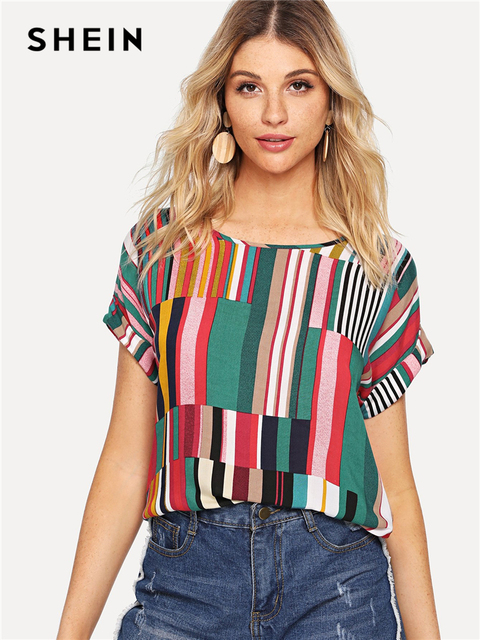 ac38482322 SHEIN Multicolor Mix Striped Print Rolled Up Tee Casual Scoop Neck  Colorblock T-Shirt Women