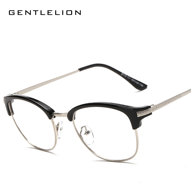 5e894c67b4 Online Shop Korea Round Semi-Rimless Eyeglasses Frames Eyewear Men Women  Vintage Transparent Lens Myopia Optic Frame Oculos 8119