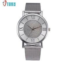 New Exquisite Design Women Watches Two Colors Golden and Silver Mesh Band Steel Quartz Wrist Watch Creative Mar29