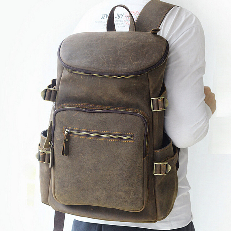 Men Genuine Leather School Backpacks Male Vintage Casual Backpacks Men's Multi-function Large Capacity Travel School Bags рюкзаки zipit рюкзак shell backpacks