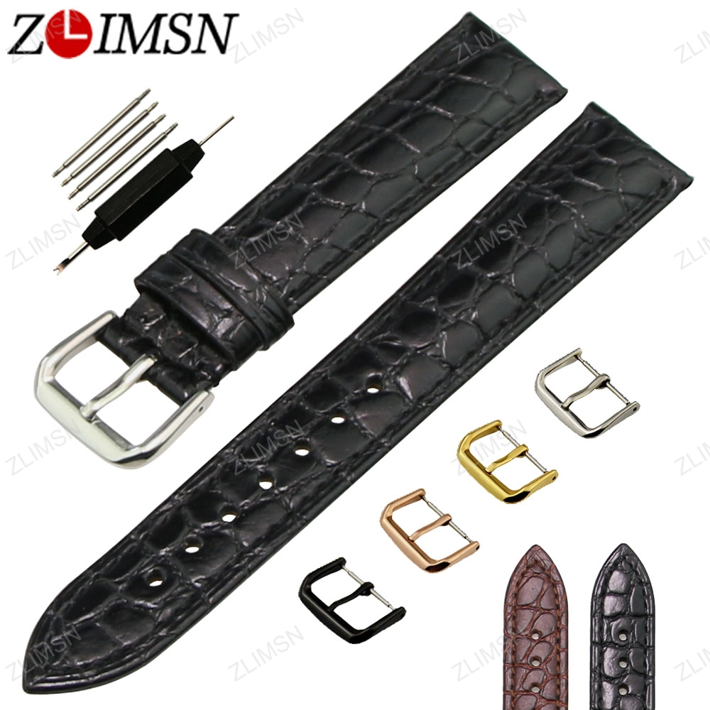 все цены на  ZLIMSN Crocodile Grain Genuine Leather Watchband Black Brown Watch Strap 18 20mm Metal Buckle Watches Accessories Relojes Hombre  в интернете