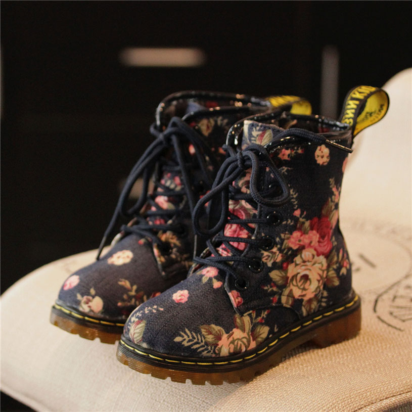 ФОТО 2016 Fashion Children Boots Girls Fashion Spring Boots Flower Printed Kids Boots Girls Casual Shoes Martin Boots For Girls