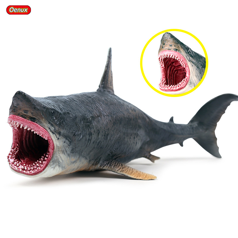 Oenux New Marine Sea Life Savage Megalodon Action Figure Ocean Animals Big Shark Model Collection Toy For Kids Birthday Gift