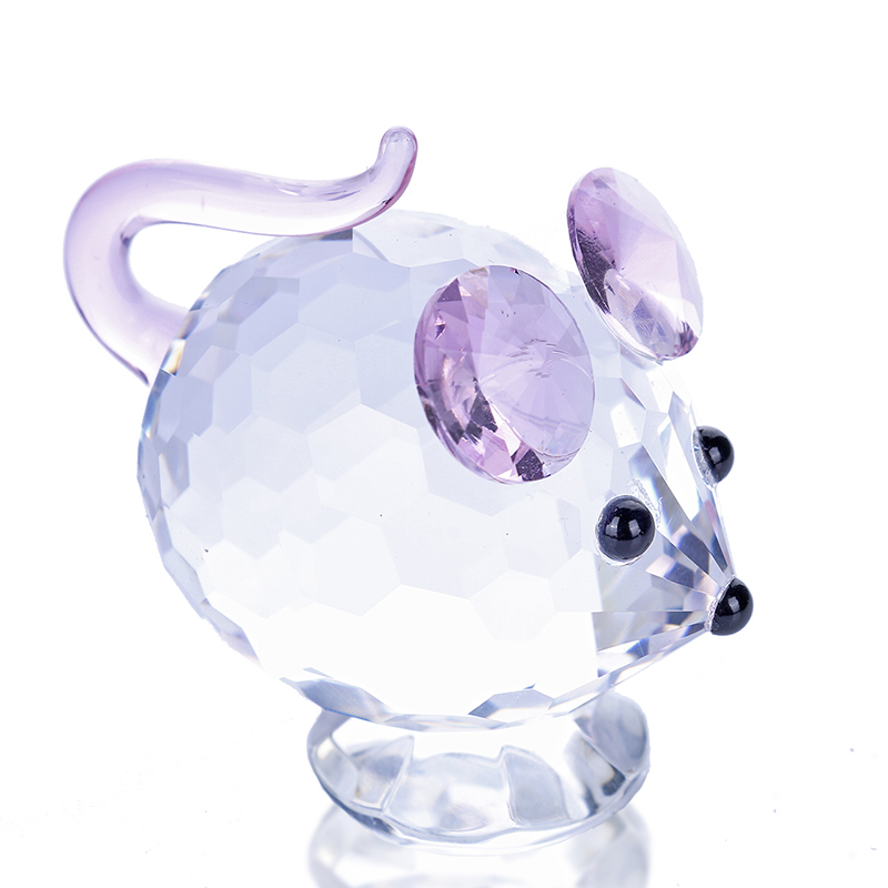H&D Pink Mouse Tiny Crystal Figurines Clear Mini Glass Art Pet Animals Collectible Gift Home Decor Wedding Favors For Guests