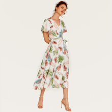 Wasteheart Summer White Women Bohemian Mid-Calf Long Dresses Printed Holiday Dress Sexy Plus Size Sundress Beach Style