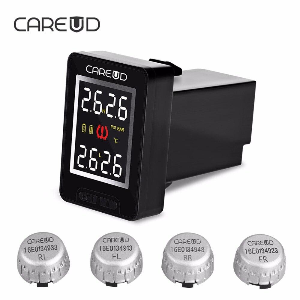 imágenes para Monitoreo de presión de neumáticos careud u912 coche sistema de alarma con 4 sensores externos tpms psi bar herramienta de diagnóstico para toyota