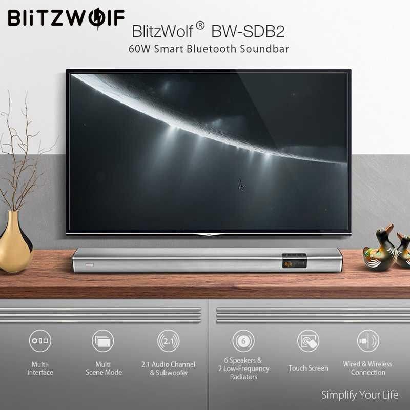 En Stock BlitzWolf 60 w Smart Barre De Son 2.1 Audio Canal Subwoofer 6 Haut-parleurs 2Low-Frequency Radiateurs pour TV PC avec Coaxi