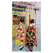 Japanese Style Long Doorway Curtain Kyoto Geisha Girls And Cherry Blossom Window Treatment Tapestry For Home Decoration 33.5 X цепочка на руку kyoto story japanese style glass beads