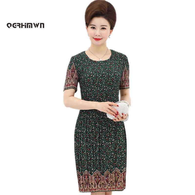 f73af9067756b Women's Summer Dress Mother 40 - 50 Years Old Plus Size Middle-aged  Printing XL