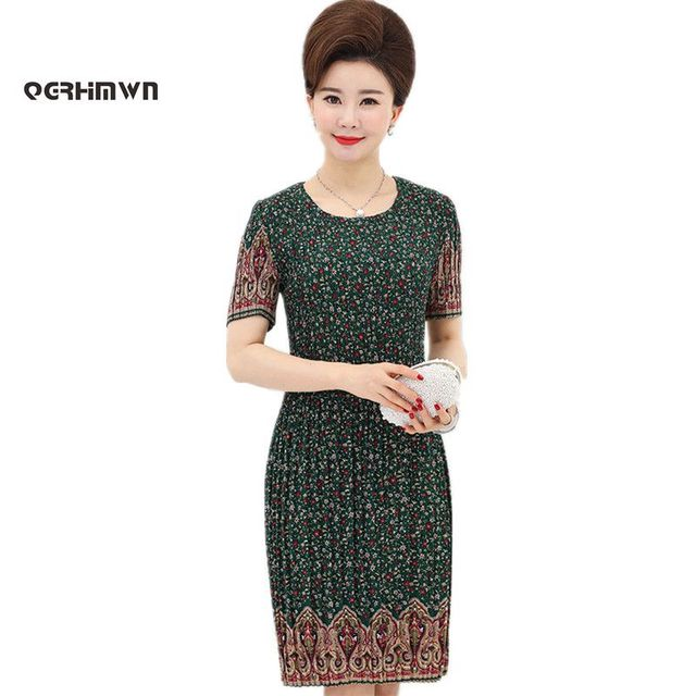 1491140332b Women s Summer Dress Mother 40 - 50 Years Old Plus Size Middle-aged  Printing XL-5XL Large Size Loose Dresses