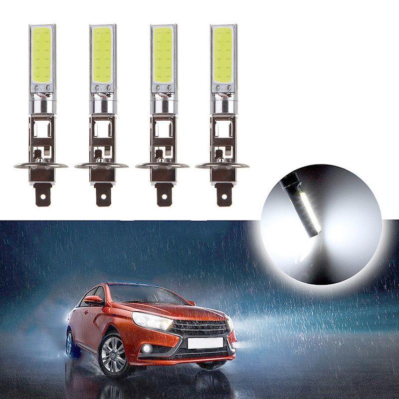 4x H1 COB LED Headlight Hi Lo Beam DRL Driving Light Lamp Bulb White 6000K Automobile Super Bright Auto Car Lighting Lamp