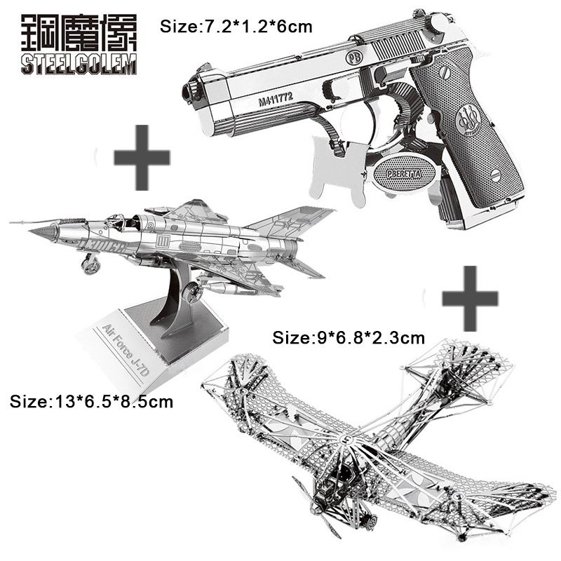 3PCS 3D Metal Model Puzzle DIY Nano Laser Cutting Manual Jigsaw Best Gifts For Adult Kids Collection Educational Decoration Toys colorful god of war returns 3d metal puzzles model for adult kids manual jigsaw educational toys desktop display collection gift